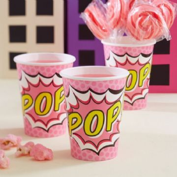 Pink Pop Art Paper Cups - pack of 8